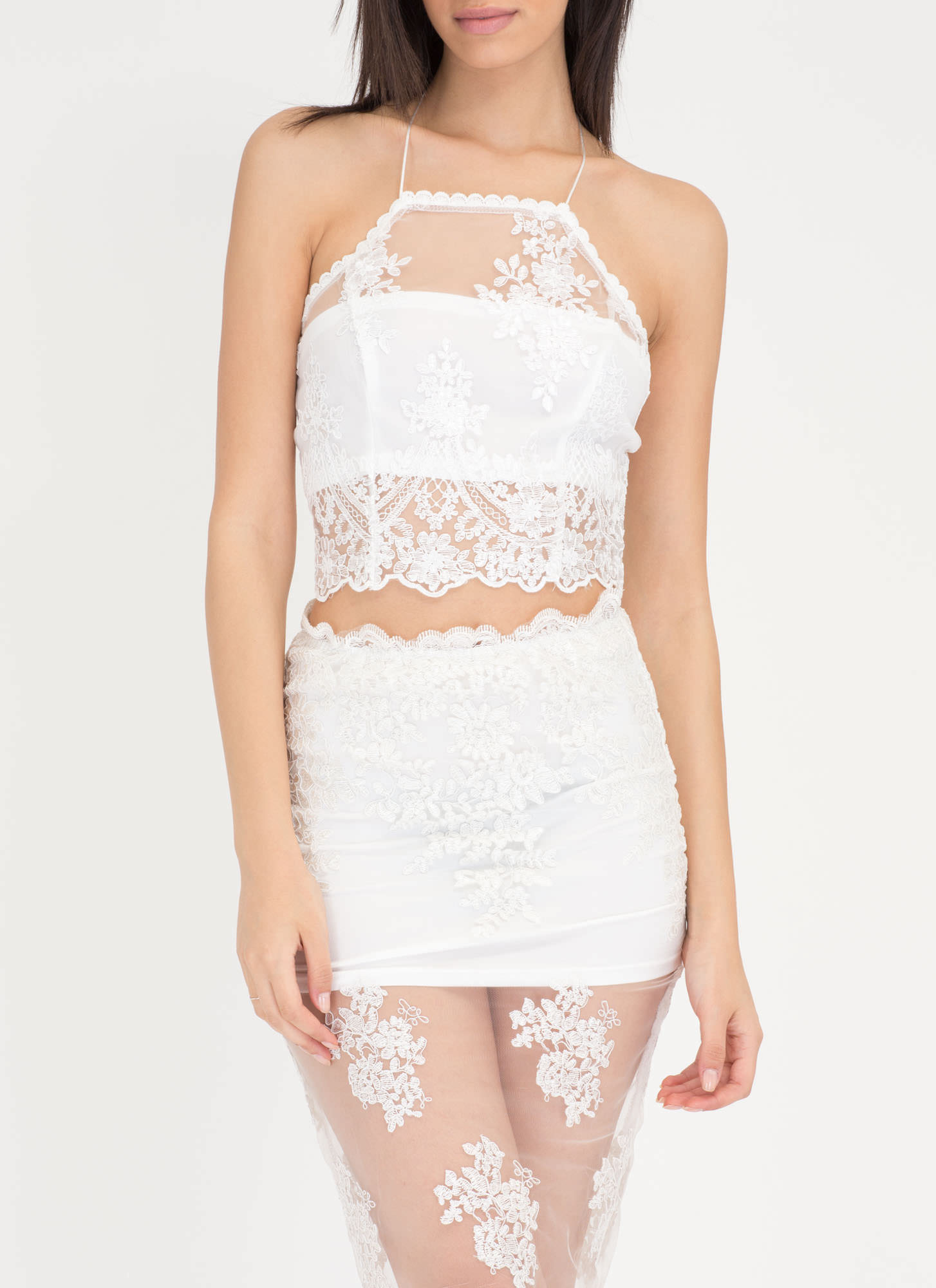 Sheer Of It Floral Lace Two-Piece Dress WHITE - GoJane.com