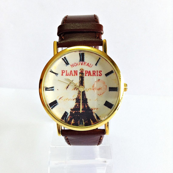 Plan Paris Watch, Vintage Style Leather Watch, Eiffel Tower Watch, Women Watches, Unisex Watch, Boyfriend Watch, Black, Brown