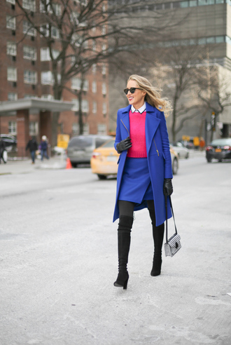 the classy cubicle blogger gloves tights blue skirt blue coat pink sweater coat skirt sweater shirt shoes bag sunglasses opaque tights
