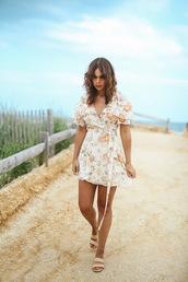 dress,mini dress,floral dress,floral,shoes,slide shoes,wrap dress,tumblr,vacation outfits