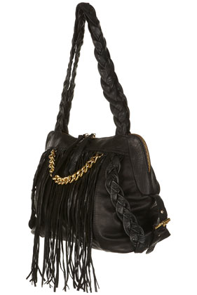 Black leather plaited fringed chain holdall