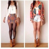 shoes,tan boots,jacket,blouse,bag,shorts,shirt,sweater,jewels,skirt,aztec skirt,aztec print clothes,tank top,tribal/ aztec pattern nike free runs,tribal pattern,cute outfits,spring fling,summer outfits,summer,tribal skirt,white crop tops,boho,white top,purse,fashion bags,tribal cardigan,mini skirt,brown,cute,aztec,mini skirt graffiti,top,style,t-shirt,cardigan,denim shorts,brown high heels,fashion,vintage,white flowy blouse,boots,leggings,socks,skinny,colorful,american indian,american indian style