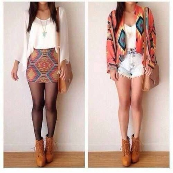 shoes blouse shorts skirt tribal pattern sweater t-shirt jewels shirt top fashion style mini skirt cardigan denim shorts bag brown high heels vintage tan boots jacket aztec aztec print clothes tribal/ aztec pattern nike free runs cute outfits all cute outfits spring fling aztec cardigan