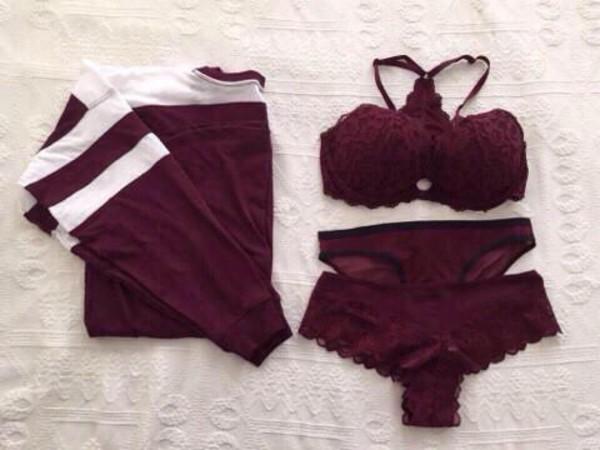 sweater stripes crewneck burgundy burgundy top bra underwear