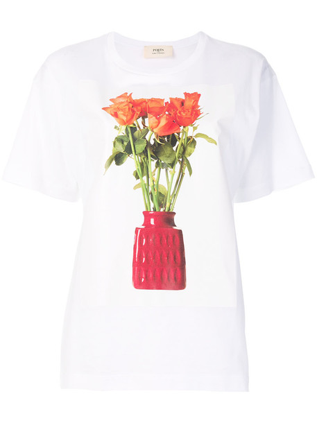 Ports 1961 - flower and vase print T-shirt - women - Cotton - S, White, Cotton