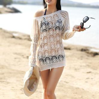 swimwear bohemian cover up bohemian beach sun sea hat sunglasses cover up boho