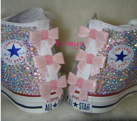 7af49e1cabe9 White High Top Sequin Bow Sparkled AB Rhinestone Crystal ...