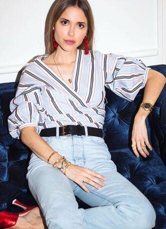 blouse shirt blogger instagram spring outfits stripes pernille teisbaek top