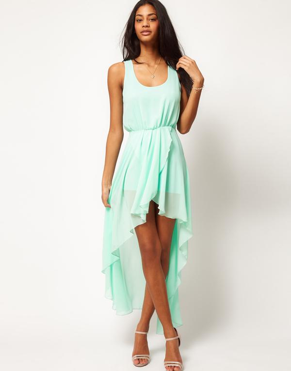 fasion mint green high low Dress women,Women's love chiffon dress ...