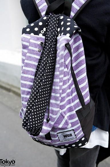 bag backpack dots mixed prints stripes tokyo fashion japanese fashion purple