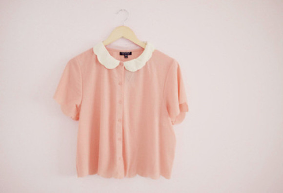 blouse button up blouse cute peach blouse