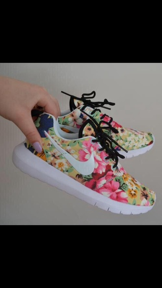 shoes floral nike nike running shoes pink flowers swoosh runners. fitness