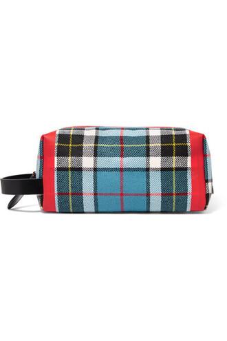 clutch leather cotton blue tartan bag