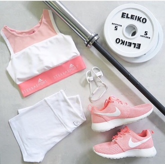 shoes athletic nike pink white workout work out clothing sports shoes sports bra sportswear top shorts sports shorts
