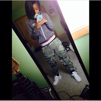 nike sweater zip up sweater army pants pant a camouflage nike shoes white nikes shoes sweater pants