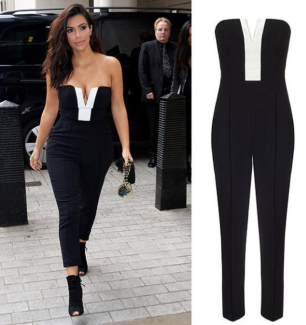 jumpsuit romper jumpsuit strapless black dress black jumpsuit style chic celebrity style celebrity style celebrity celebrity shoes