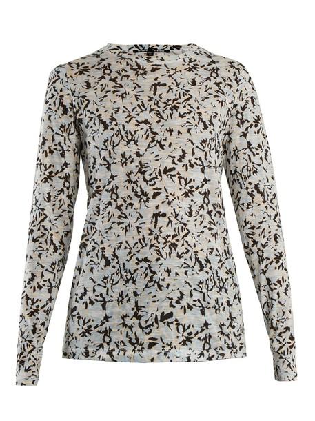 Proenza Schouler t-shirt shirt cotton t-shirt t-shirt long floral cotton print blue top
