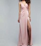 dress,prom dress,fashion,style,outfit,prom,long dress,maxi skirt,creme dress,long prom dress,pink dress,light pink dress,pink prom dress,faviana,silk dress,satin dress
