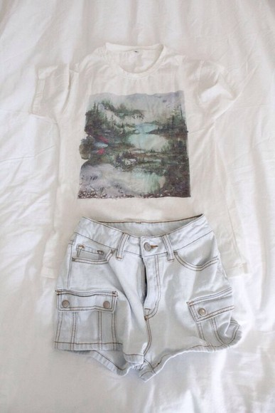 shorts t-shirt blue shorts printed t-shirt