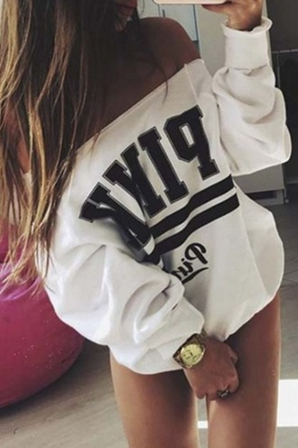 sweater pink victoria's secret vspink white off the shoulder off the shoulder sweater