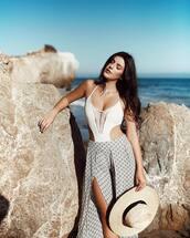 swimwear,hat,tumblr,one piece swimsuit,white swimwear,sun hat,pants,slit pants