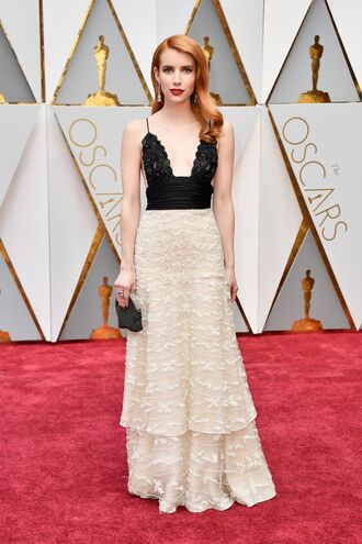 dress red carpet dress lace dress emma roberts oscars 2017 gown prom dress clutch maxi dress oscars