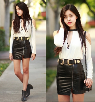 top white black sexy elegant classy blouse fashion shirt long sleeves black and white cut-out