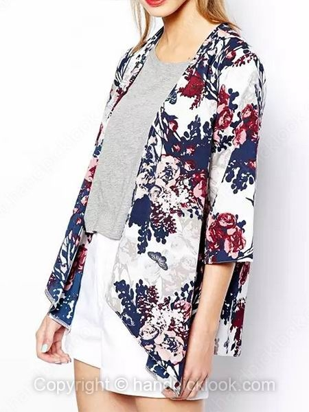 Navy Three Quarter Length Sleeve Floral Print Loose Coat - HandpickLook.com