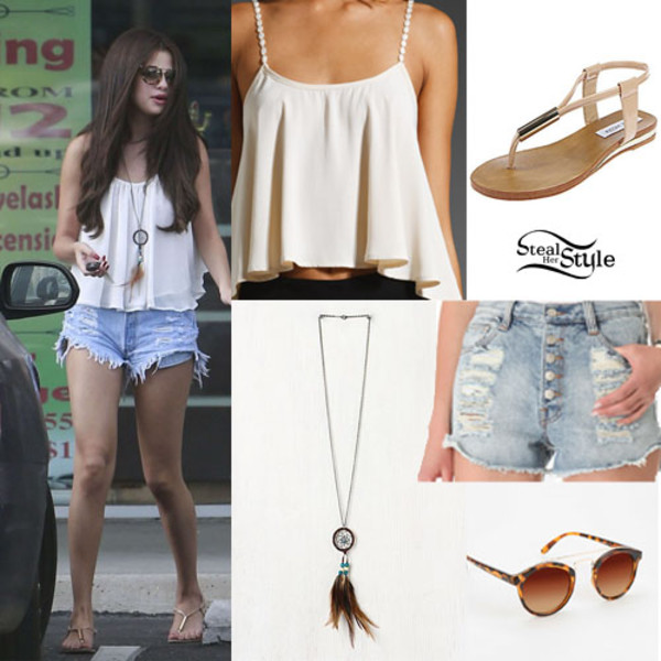 tank top selena gomez selenas style summer button up shorts loose tank top crop tops round sunglasses High waisted shorts shorts shoes jewels