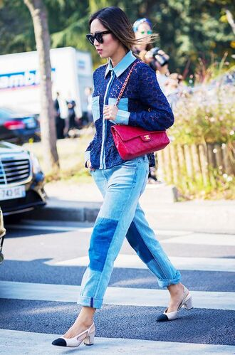 shoes chanel bag chanel red bag nude shoes slingbacks jeans blue jeans jacket blue jacket sunglasses black sunglasses song of style blogger top blogger lifestyle