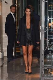 skirt,jacket,blazer,kim kardashian,fashion week 2014