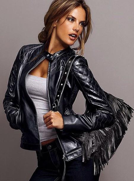 coat black leather biker jacket