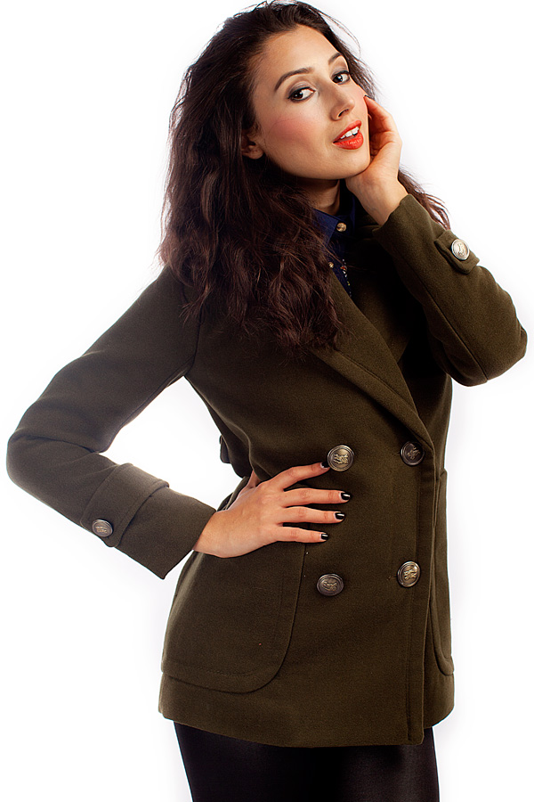 Double Breasted Worsted Trench Coat with Oversized Lapels - OASAP.com