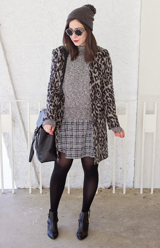 adventures in fashion blogger coat leopard print sweater dress shoes bag sunglasses hat jewels