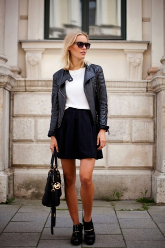 jolie janine blogger michael kors bag leather jacket biker jacket skater skirt