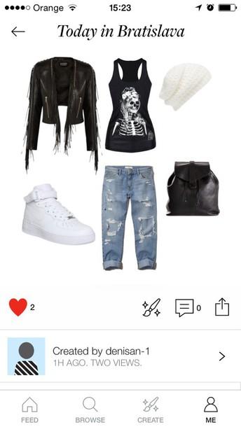 jeans jacket bag skirt top