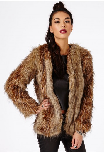 Long Haired Faux Fur Coat In Brown - Coats & Jackets - Missguided