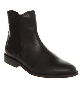 Office kurious elastic chelsea b black leather shoes