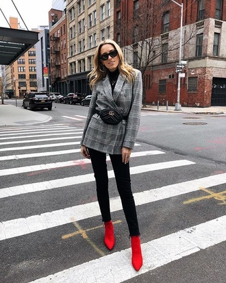shoes red boots sock boots blazer grey blazer plaid plaid blazer belt bag fanny pack boots jeans black jeans
