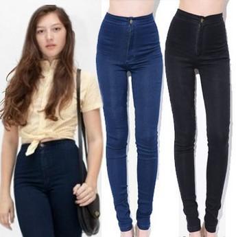 las mujeres vintage pantalones de cintura alta tramo lápiz pantalones denim slim femenino pantalones skinny en de en Aliexpress.com