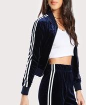 jumpsuit,velvet,girly,blue,crushed velvet,joggers,tracksuit,track pants,white,stripes,zip,zip up jacket,crop,cropped jacket