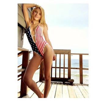 swimwear beach bella thorne summer july 4th one piece swimsuit plunge v neck american