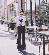t-shirt,tumblr,white t-shirt,pants,black pants,flare pants,shoes,slingbacks,polka dots,sunglasses