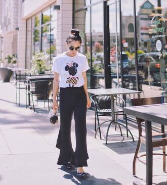 t-shirt tumblr white t-shirt pants black pants flare pants shoes slingbacks polka dots sunglasses