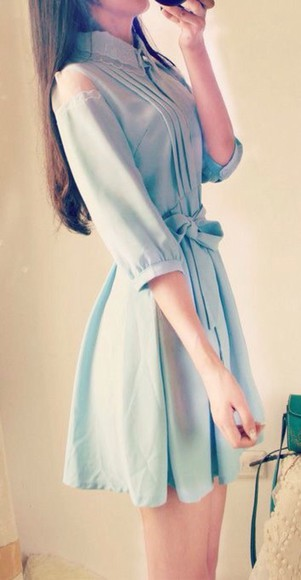 peter pan collar blue dress cute dress