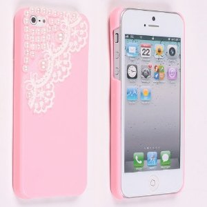 Amazon.com: neewer® pretty pink pearl lace ice cream hard back case cover for apple iphone 5: cell phones & accessories