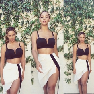top beyonce midi skirt crop tops black and white skirt beyoncé white with black border and thigh split