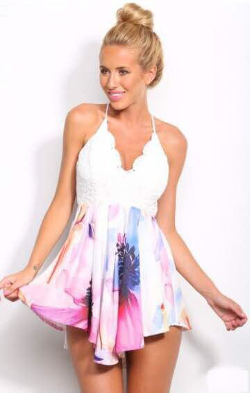 2485ab3f3a64 ~ Flower Power ~ White & Floral Floaty Playsuit
