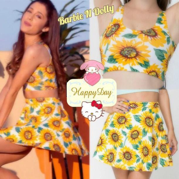 4af7c1356f dress skirt sunflower fashion festival summer outfits summer dress crop  tops bralette tank top top skater