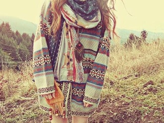 sweater spring winter outfits casual comfy wear style outfit urban fashion tumblr aztec patterns colourful scarf summer